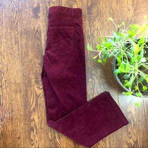 🆕 Boys Burgundy Ribbed Velvet Straight Jeans